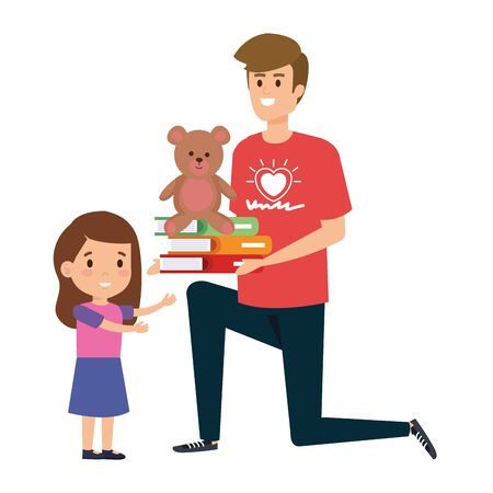 man volunteer giving a girl books and bear teddy vector illustration design
