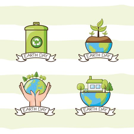 set trash can planet plant house energy earth day vector illustration