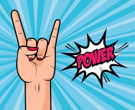 female hand girl power sunburst background pop art elements vector illustration  イラスト・ベクター素材