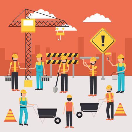 workers construction employee work equipment vector illustration Vetores