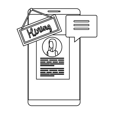 smartphone with hiring label and curriculum vector illustration design