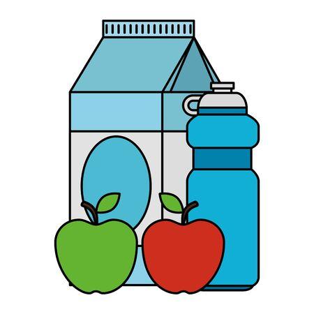 milk box with apples and water vector illustration design Standard-Bild - 129484411