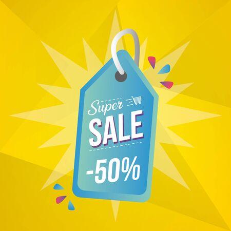 super sale off tag price discount vector illustration