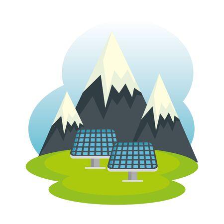 solar panels energy ecology in landscape vector illustration design Çizim