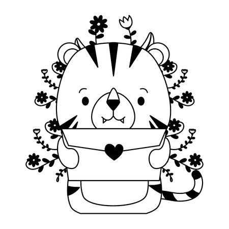 cute tiger cartoon mail love vector illustration Foto de archivo - 129443421