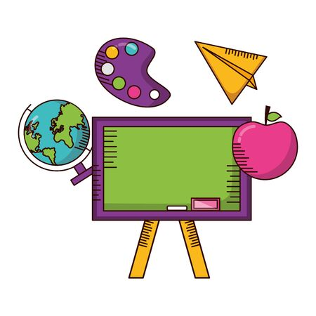 school board globe apple paper plane teachers day  vector illustration