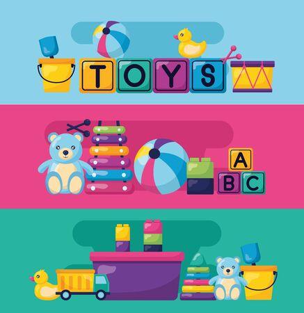 kids toys bear ball xylophone cubes duck drum truck bucket banners vector illustration Illusztráció