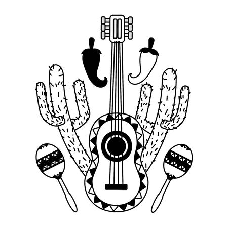 guitar maracas cactus jalapeno mexico cinco de mayo vector illustration