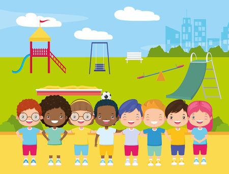 happy group girls and boys in the playground - kids zone vector illustration