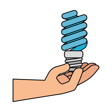 hand with saver bulb energy icon vector illustration design Stok Fotoğraf - 129484420