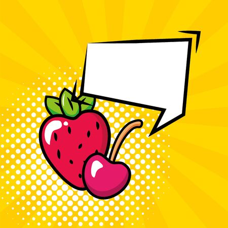 strawberry and cherry speech bubble pop art elements vector illustration Illustration