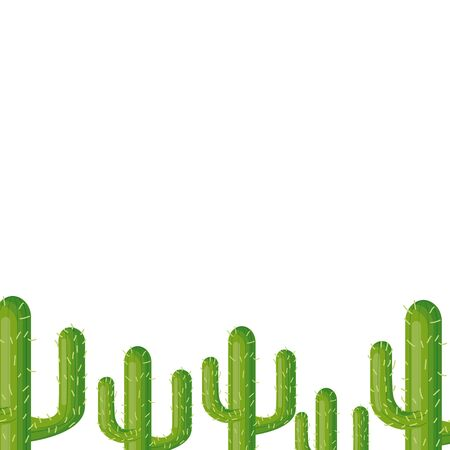 cactus plant flora white background vector illustration