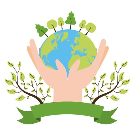 hands with planet forest ecology emblem earth day vector illustration