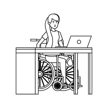 young woman in wheelchair working in the office vector illustration design Banque d'images - 129484495