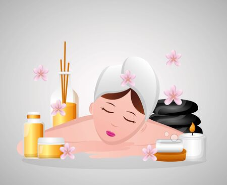 woman with towel relaxing spa vector illustration