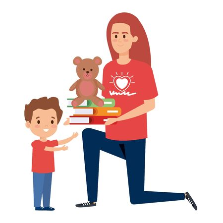 woman volunteer giving a boy books and bear teddy vector illustration design Banque d'images - 129484498