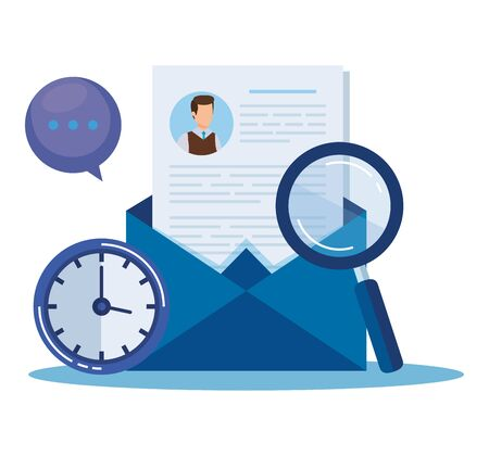 curriculum vitae with magnifying glass and clock vector illustration