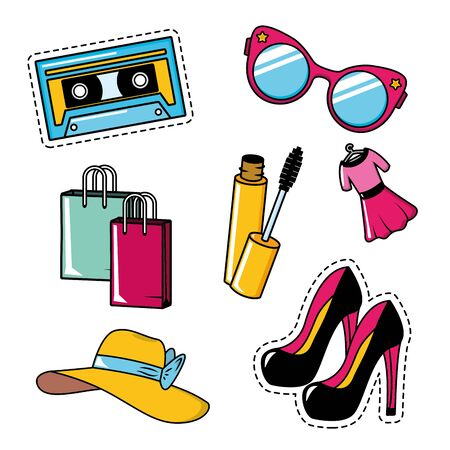 pop art elements collection female accessories glasses high heel shoes hat mascara brush dress vector illustration Stock fotó - 129472799