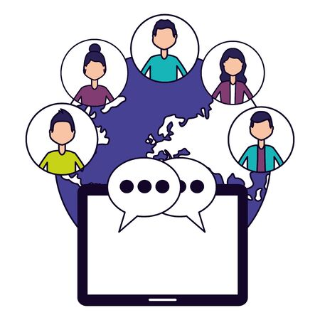 people mobile chatting world social media vector illustration