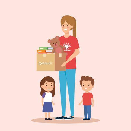 girl volunteer with box donation to kids vector illustration Stok Fotoğraf - 129484511