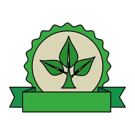 ecology leafs plant circular frame vector illustration design Banque d'images - 129484550