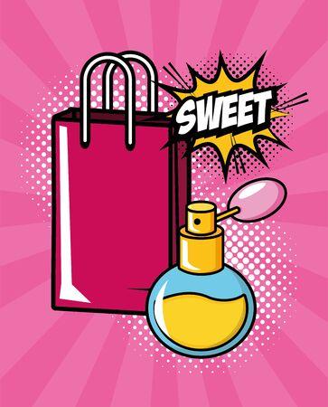 fragrance shopping bag sweet pop art elements vector illustration Illustration