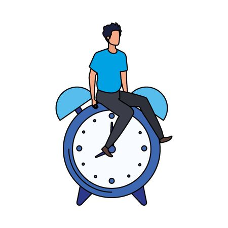 young man with alarm clock character vector illustration design
