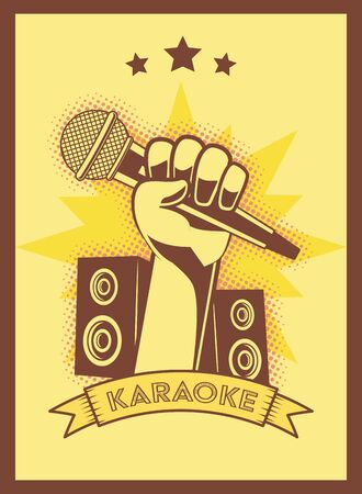 hand with microphone speakers karaoke retro style poster vector illustration