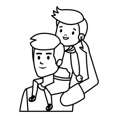 young father with son characters vector illustration design Banque d'images - 129484577