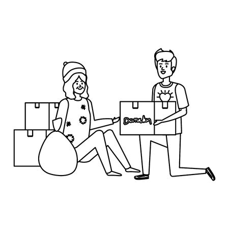 man volunteer giving a homeless woman donations box vector illustration design Banque d'images - 129484582