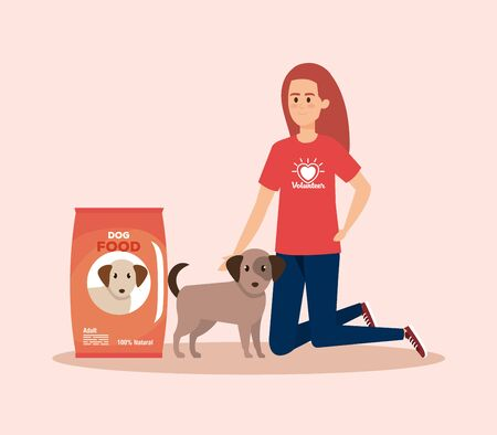 girl volunteer with dog and food donation vector illustration