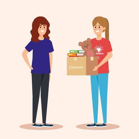 filles avec don de boîte avec des livres et illustration vectorielle en peluche