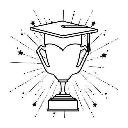 hat graduation with trophy cup vector illustration design 일러스트