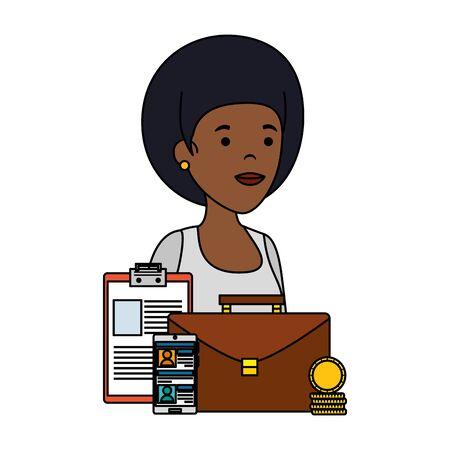 young black woman with business icons vector illustration design Ilustração