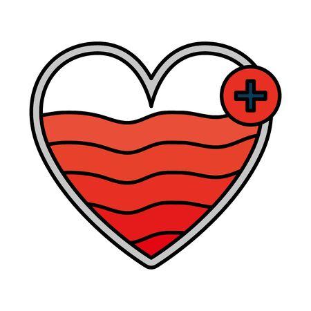 heart cardio with pluss symbol vector illustration design Banque d'images - 129484542