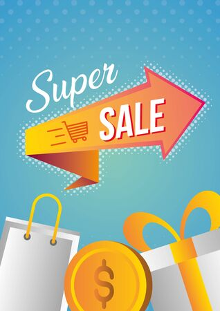 super sale off discount gift bag shop vector illustration 写真素材 - 129472172