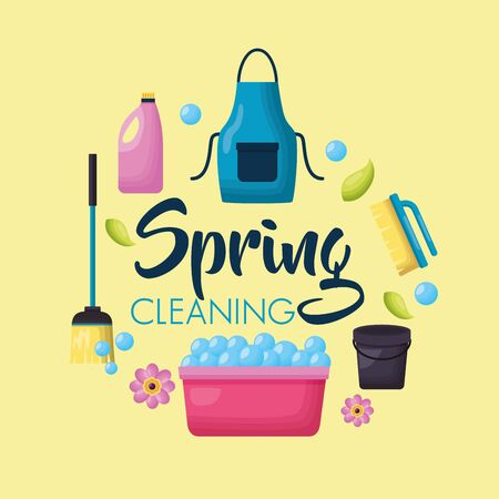 spring cleaning tools washing bucket broom detergent vector illustration