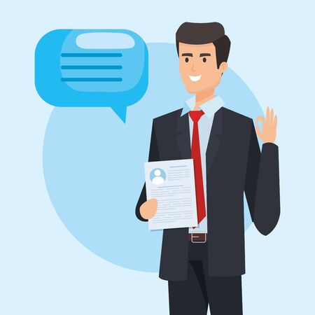 executive businessman with chat bubble and documents vector illustration