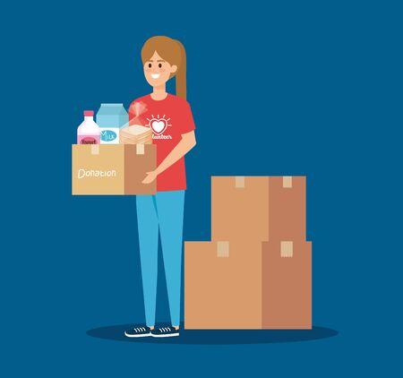 girl volunteer wih box donation and food vector illustration