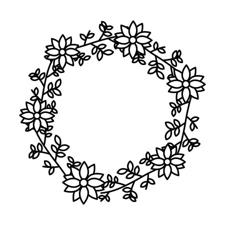 wreath flowers leaves decoration foliage vector illustration