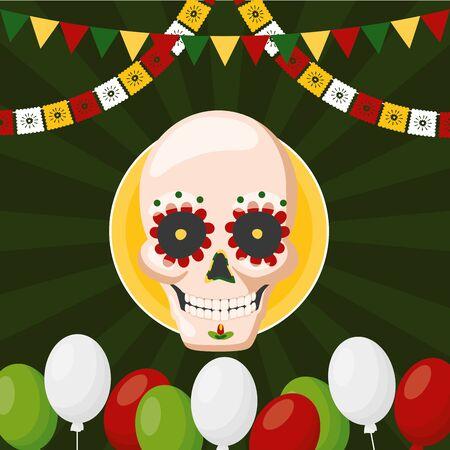 skull balloons label mexico cinco de mayo vector illustration Çizim