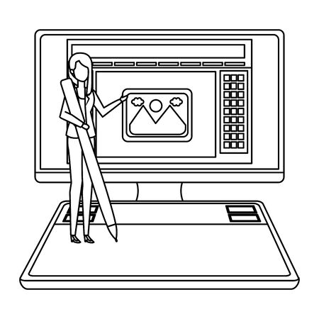 elegant businesswoman with pen in desktop vector illustration design Çizim