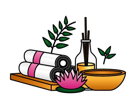 aromatherapy sticks towels mortar flower spa treatment therapy vector illustration Banco de Imagens - 129471446