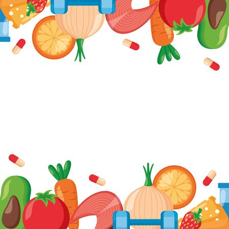 medical sport food world health day vector illustration Иллюстрация
