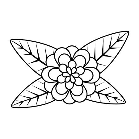 rose with leafs icon vector illustration design Banque d'images - 129484484