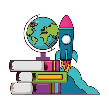 school globe rocket books teachers day  vector illustration