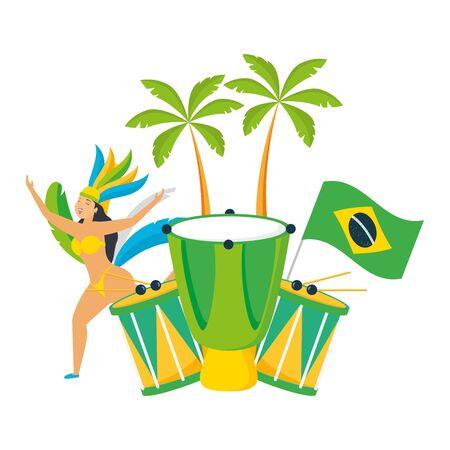 dancer flag drum corcovado brazil carnival celebration vector illustration Illustration