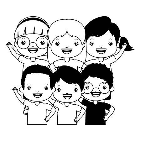 group boy and girl embraced kids vector illustration