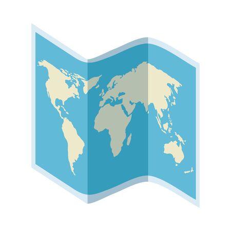 paper map travel guide vector illustration design