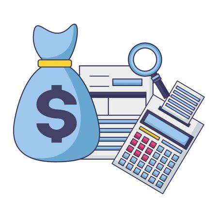 money bag calculator form analysis tax payment vector illustration  イラスト・ベクター素材